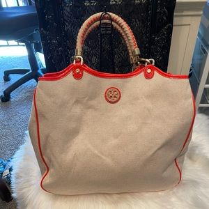 Tory Burch Channing straw tote.